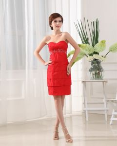 Strapless Short Sleeve Beading Layered Mini Length Mother of the Bride Dress