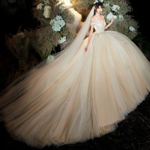 Luxury / Gorgeous Champagne Wedding Dresses 2020 Ball Gown Off-The-Shoulder Short Sleeve Backless Appliques Lace Beading Sequins Chapel Train Ruffle