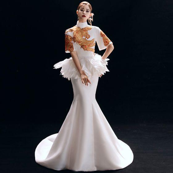 Chinesischer Stil Vintage Ivory / Creme Abendkleider 2019 Meerjungfrau Stehkragen Stickerei 1/2 Ärmel Rückenfreies Hof-Schleppe Festliche Kleider