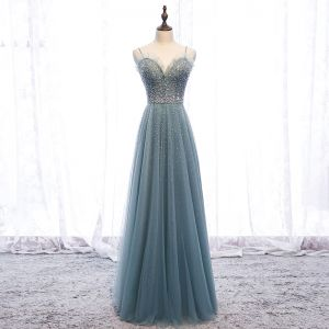 Chic / Beautiful Green Evening Dresses  2019 A-Line / Princess Ruffle Spaghetti Straps Beading Pearl Sequins Sleeveless Backless Floor-Length / Long Formal Dresses