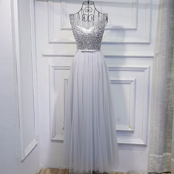 Brillante Plata Vestidos para bodas 2017 Con Encaje Lentejuelas Bowknot Scoop Escote Sin Mangas La altura del tobillo Empire Vestidos De Damas De Honor