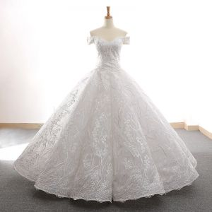 High-end White Dancing Prom Dresses 2020 Ball Gown Off-The-Shoulder Short Sleeve Best Appliques Lace Floor-Length / Long Ruffle Backless Formal Dresses