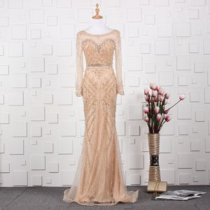 Luxury / Gorgeous Gold Handmade  Beading Evening Dresses  2019 Trumpet / Mermaid Scoop Neck Crystal Rhinestone Long Sleeve Sweep Train Formal Dresses