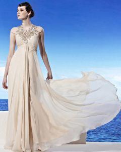 Licol Decollete Etage Longueur Manches Courtes Perles Fleur Empire Tencel Robe De Soirée De Femme