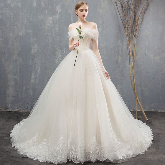 Elegant Champagne Wedding Dresses Ball Gown Lace Off-The-Shoulder Backless Sleeveless Chapel Train Wedding