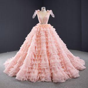 Luksusowe Śliczny Cukierki Różowy Cekiny Suknie Ślubne 2020 Suknia Balowa Wycięciem Bez Rękawów Bez Pleców Kaskadowe Falbany Trenem Kaplica