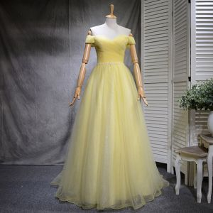 Chic / Beautiful Yellow Prom Dresses 2018 A-Line / Princess Sequins Off-The-Shoulder Backless Sleeveless Sweep Train Formal Dresses