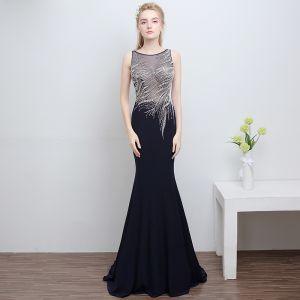 Piękne Granatowe Sukienki Wieczorowe 2018 Syrena / Rozkloszowane U-Szyja Bez Pleców Frezowanie Rhinestone Poliester Wieczorowe Sukienki Wizytowe