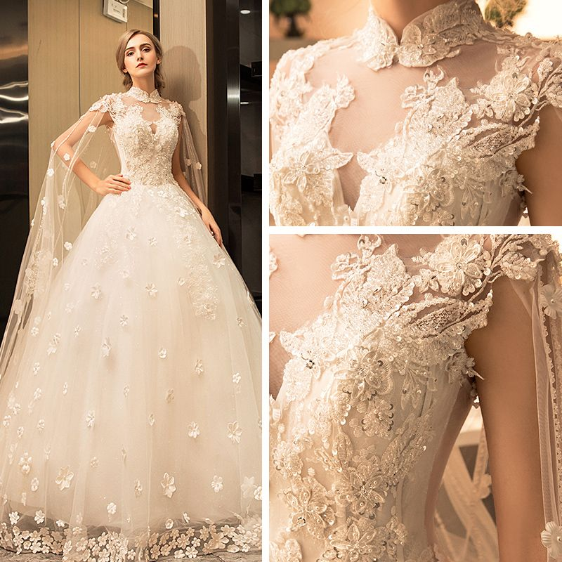 Vintage Sparkly Wedding Dresses 2017 White Lace Appliques Pearl Sequins High Neck Sleeveless Backless Cathedral Train Ball Gown