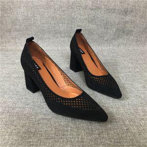 Schlicht Schwarz Freizeit Durchbohrt Sandalen Damen 2020 Leder 7 cm Thick Heels Spitzschuh Sandaletten
