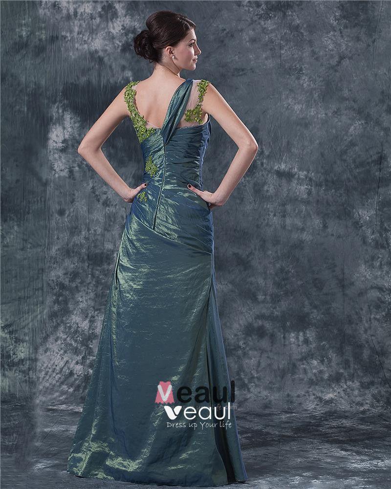 Satin V Neck Ruffle Applique Floor Length Mothers of Bride Guests Dresses
