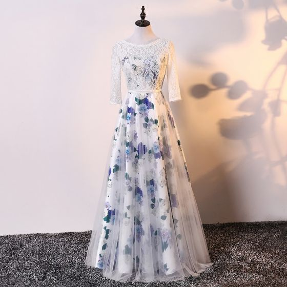 Chic / Beautiful Ivory Evening Dresses  2017 A-Line / Princess Lace Tulle U-Neck Embroidered Backless Evening Party Formal Dresses