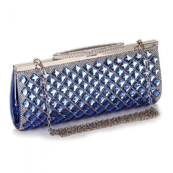 Luxury / Gorgeous Royal Blue Rhinestone Metal Clutch Bags 2018