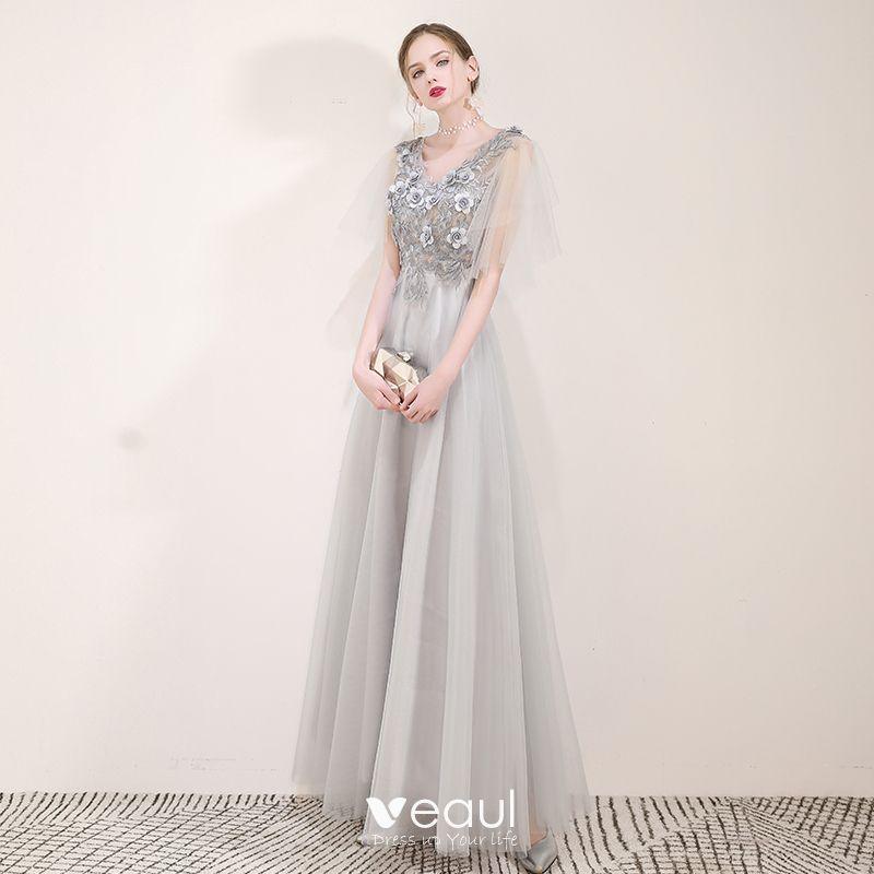 525fe6cedf46 Elegantes Gris Vestidos de noche 2019 A-Line / Princess V-Cuello ...