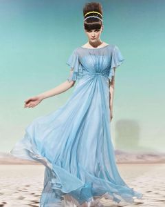 Ruffles Sleeve Round Neck Floor Length Beading Empire Tencel Woman Evening Dress