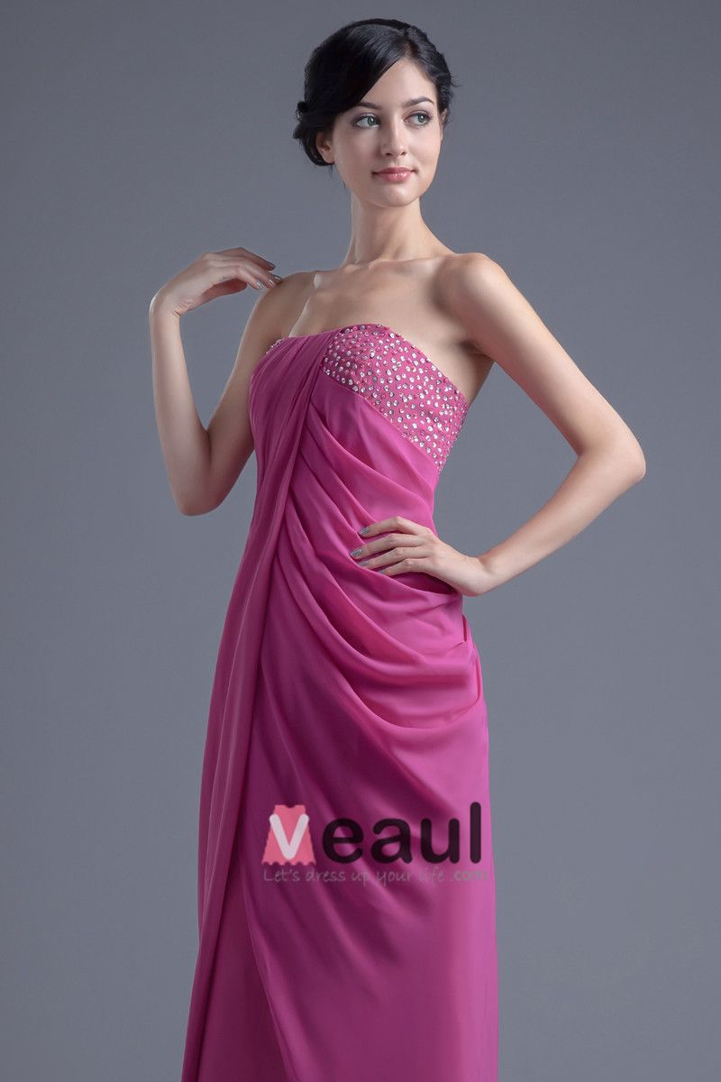 Elegant Strapless Floor Length Beading Pleated Chiffon Bridesmaid Dress