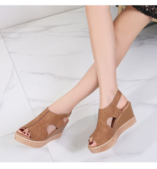 Modest / Simple Brown Summer Beach Womens Sandals 2020 8 cm Wedges Open / Peep Toe Sandals