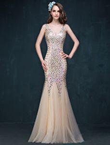 Glitter Trumpet / Mermaid V-ringad Beading Strass Backless Champagne Aftonklänning / Balklänning