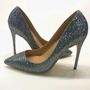 Chic / Beautiful Silver Evening Party Pumps 2019 Leather Multi-Colors Sequins 12 cm Stiletto Heels Pointed Toe Pumps