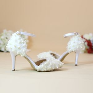 Chic / Beautiful Champagne Wedding Shoes 2019 Ankle Strap Lace Flower Pearl 8 cm Stiletto Heels Pointed Toe Wedding High Heels