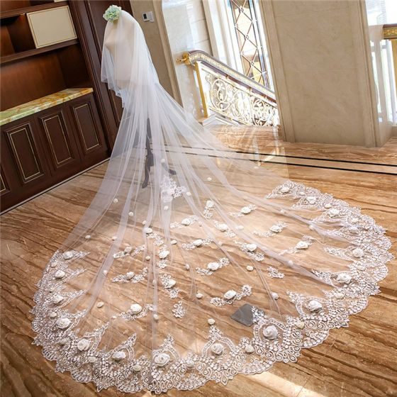 Flower Fairy White Cathedral Train Wedding 4 m Tulle Lace Flower Appliques Wedding Veils 2018