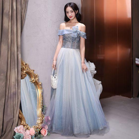 Fashion Sky Blue Prom Dresses 2021 A-Line / Princess Off-The-Shoulder Beading Sequins Sleeveless Backless Floor-Length / Long Formal Dresses