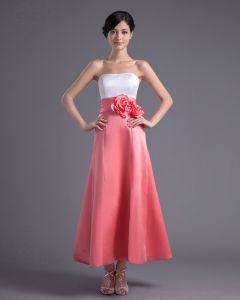 Fleur De Satin Robe Bustier De Demoiselle D'honneur De Longueur De Cheville De Mode