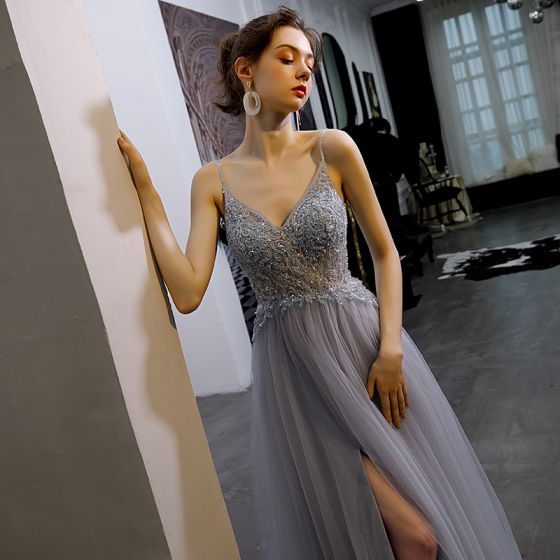 Sexy Sky Blue See-through Evening Dresses  2020 A-Line / Princess Spaghetti Straps Sleeveless Beading Split Front Sweep Train Ruffle Backless Formal Dresses