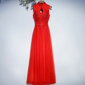 Chic / Beautiful Red Formal Dresses Evening Dresses  2017 Lace Flower Sequins Backless High Neck Sleeveless Floor-Length / Long A-Line / Princess