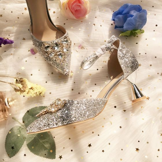 Sparkly Silver Crystal Wedding Shoes 2020 Ankle Strap Rhinestone Sequins 8 cm Stiletto Heels Pointed Toe Wedding Heels