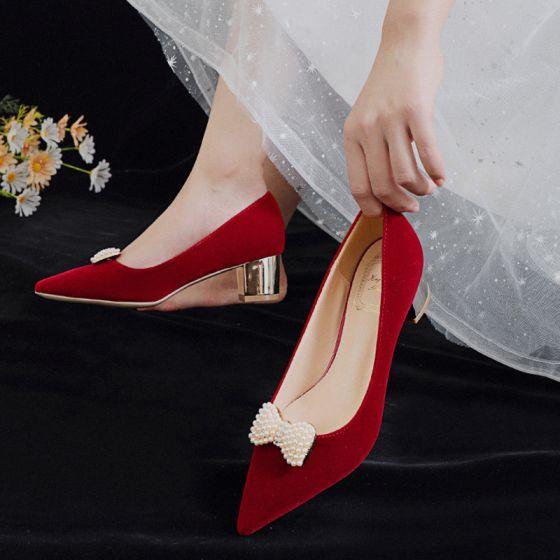 Elegantes Rojo Perla Bowknot Zapatos de novia 2021 5 cm Talones Gruesos Tacones De Bloque Punta Estrecha Boda Tacones High Heels