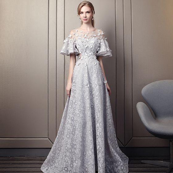 Modern / Fashion Grey Pierced Evening Dresses  2018 Empire Scoop Neck 1/2 Sleeves Appliques Flower Rhinestone Court Train Ruffle Backless Formal Dresses
