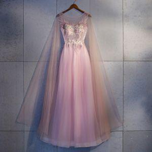 Mooie / Prachtige Candy Roze Avondjurken 2018 A lijn Kant Appliques Kristal Ronde Hals Ruglooze Mouwloos Lange Gelegenheid Jurken