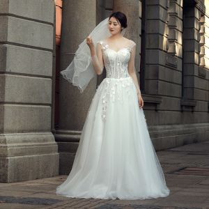 Chic / Beautiful Ivory Wedding Dresses 2018 A-Line / Princess Appliques Scoop Neck Backless Long Sleeve Floor-Length / Long Wedding
