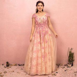 Blumenfee Beige Übergröße Abendkleider 2018 A Linie V-Ausschnitt Tülle Applikationen Rückenfreies Perlenstickerei Kristall Abend Ballkleider