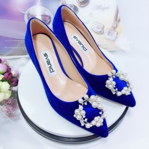 Chic / Beautiful Royal Blue Bridesmaid Pumps 2020 Suede Rhinestone Pearl 9 cm Stiletto Heels Pointed Toe Pumps