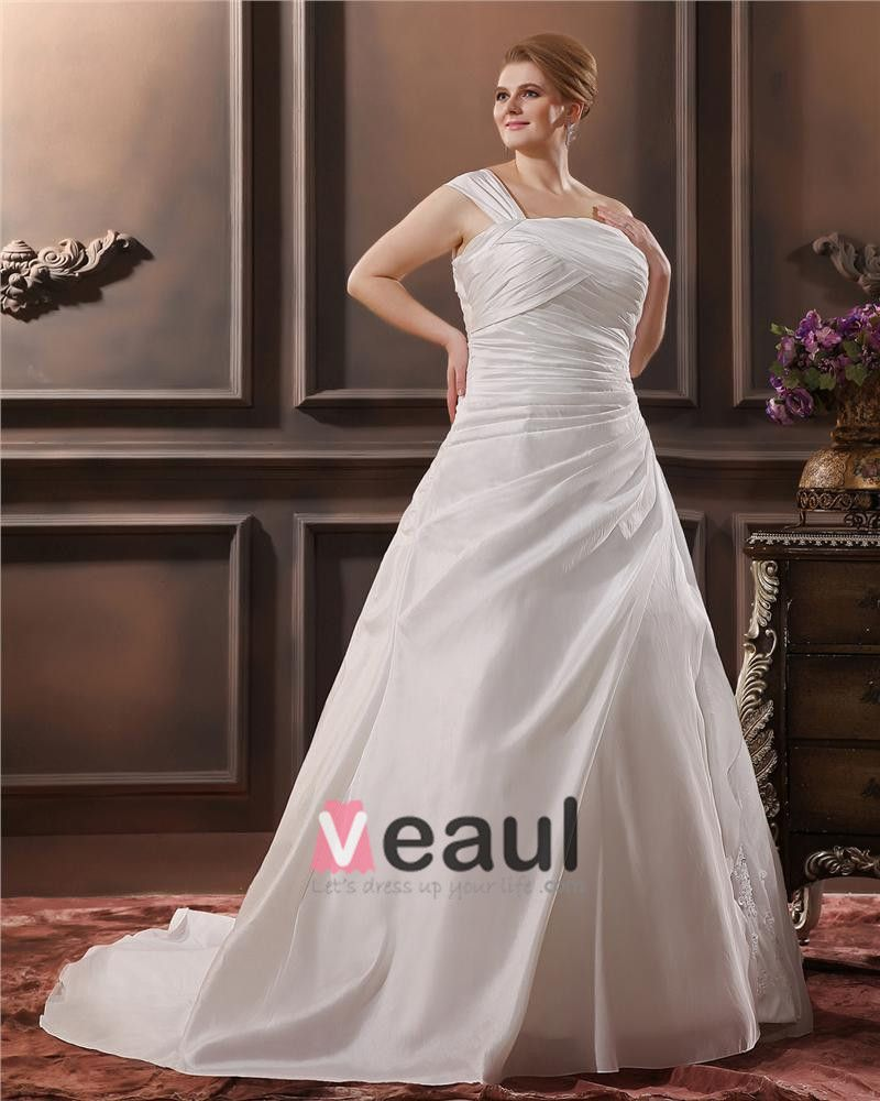 Satin Applique One Shoulder Court Plus Size Bridal Gown Wedding Dresses