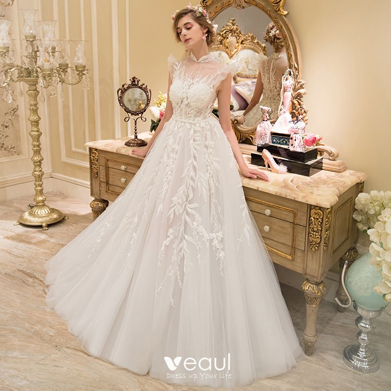 Illusion Ivory See-through Wedding Dresses 2019 A-Line / Princess High Neck Sleeveless Pierced Appliques Lace Beading Sweep Train Ruffle