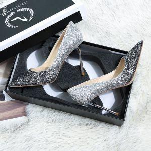 Glittrande Silver Svarta Brudskor 2019 Läder Paljetter 10 cm Stilettklackar Spetsiga Bröllop Pumps