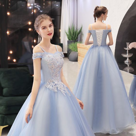 Elegant Sky Blue Dancing Prom Dresses 2021 Ball Gown Off-The-Shoulder Spaghetti Straps Short Sleeve Appliques Lace Beading Floor-Length / Long Ruffle Backless Formal Dresses