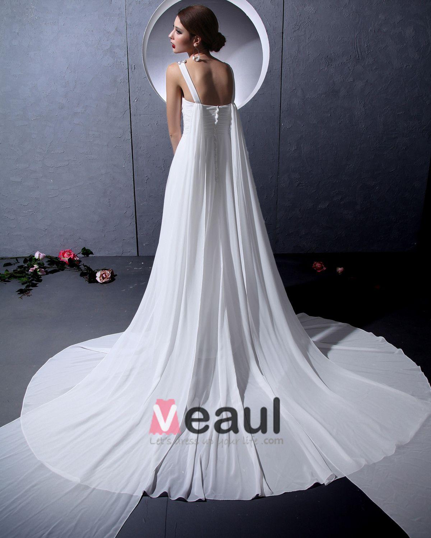 V Neck Sleeveless Single Breasted Floor Length Beading Ruffle Chiffon Woman Empire Wedding Dress