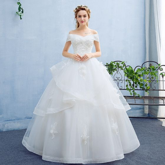 Elegant White Wedding Dresses 2017 Ball Gown Flower Lace Backless Sequins Off-The-Shoulder Short Sleeve Floor-Length / Long