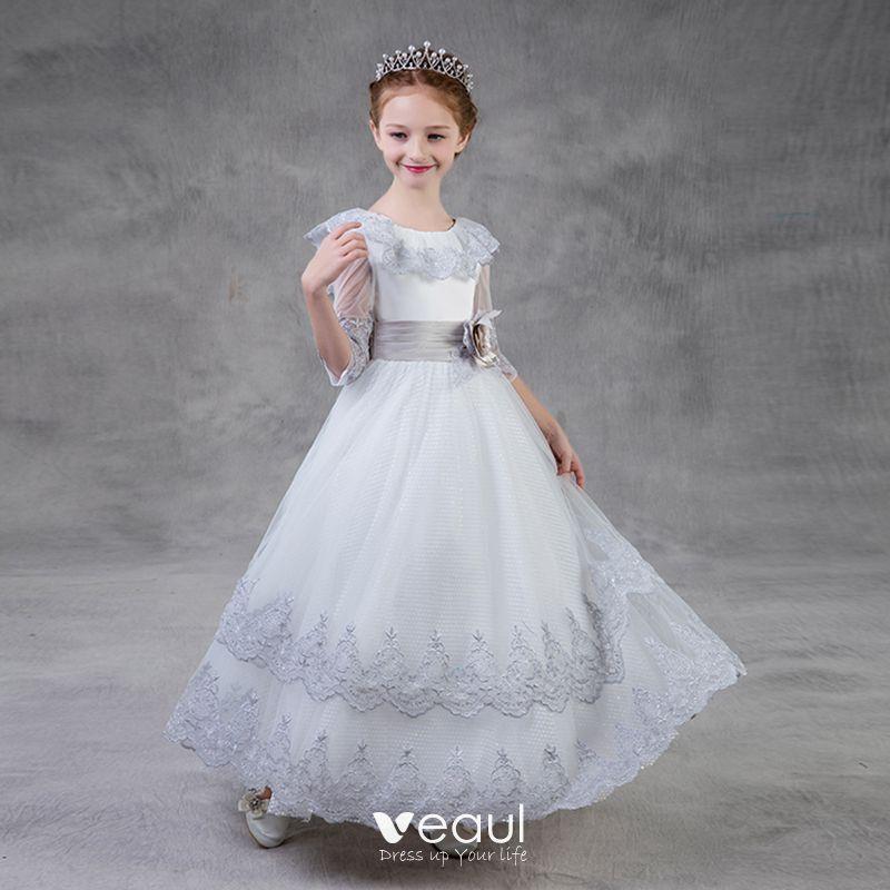 859b58f150 Piękne Srebrny Sukienki Dla Dziewczynek 2018 Princessa Wycięciem 3 4 Rękawy  Aplikacje Z Koronki Kwiat Szarfa ...