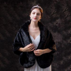Chic / Belle Noire châle 2020 Daim Polyester Châles épaules Hiver Mariage Soirée Promo Sans Manches Accessorize