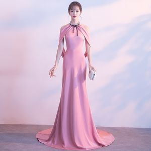 Sexy Candy Pink Evening Dresses  2017 Trumpet / Mermaid Metal Halter Sleeveless Court Train Backless Formal Dresses