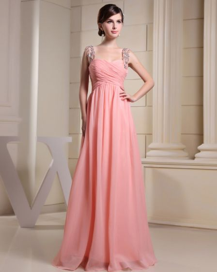 Fashion Chiffon Charmeuse Silk Beaded Pleated Straps Floor Length Sleeveless Women Evening Dress