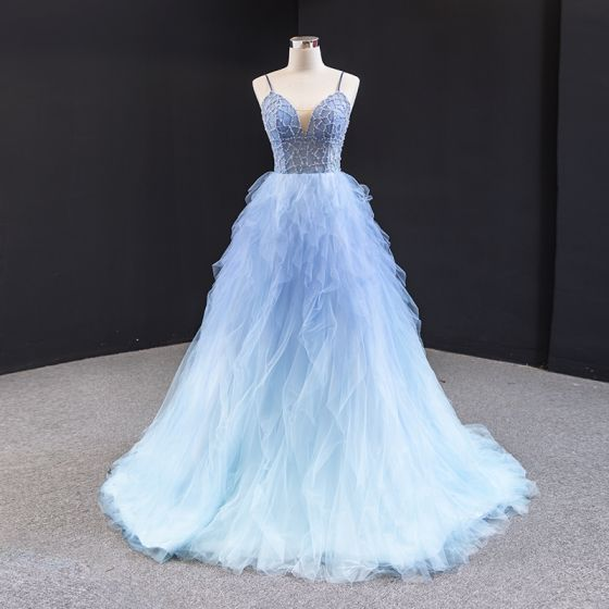 Fabuloso Azul Cielo Vestidos de gala 2020 A-Line / Princess Spaghetti Straps Sin Mangas Rebordear Colas De Barrido Ruffle Sin Espalda Vestidos Formales