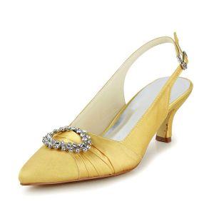 Scintillant De Strass Bout Pointu Bretelles En Satin Or Talons Bas Sandales Chaussures De Mariée