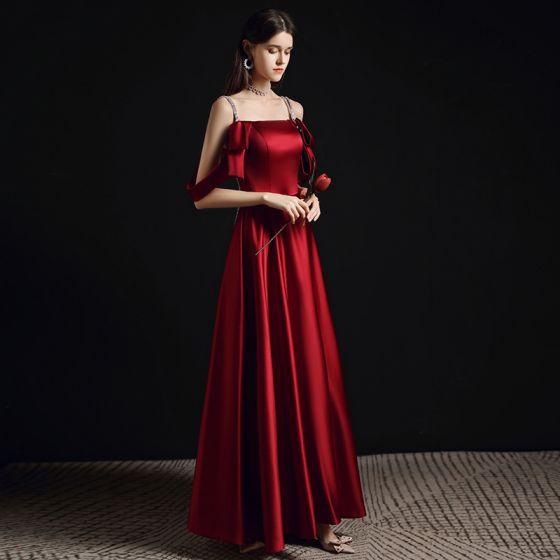 Fashion Burgundy Evening Dresses  2021 A-Line / Princess Spaghetti Straps Sleeveless Backless Floor-Length / Long Formal Dresses