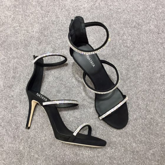 Sexy Black Cocktail Party Womens Sandals 2020 Rhinestone 10 cm Stiletto Heels Open / Peep Toe Sandals
